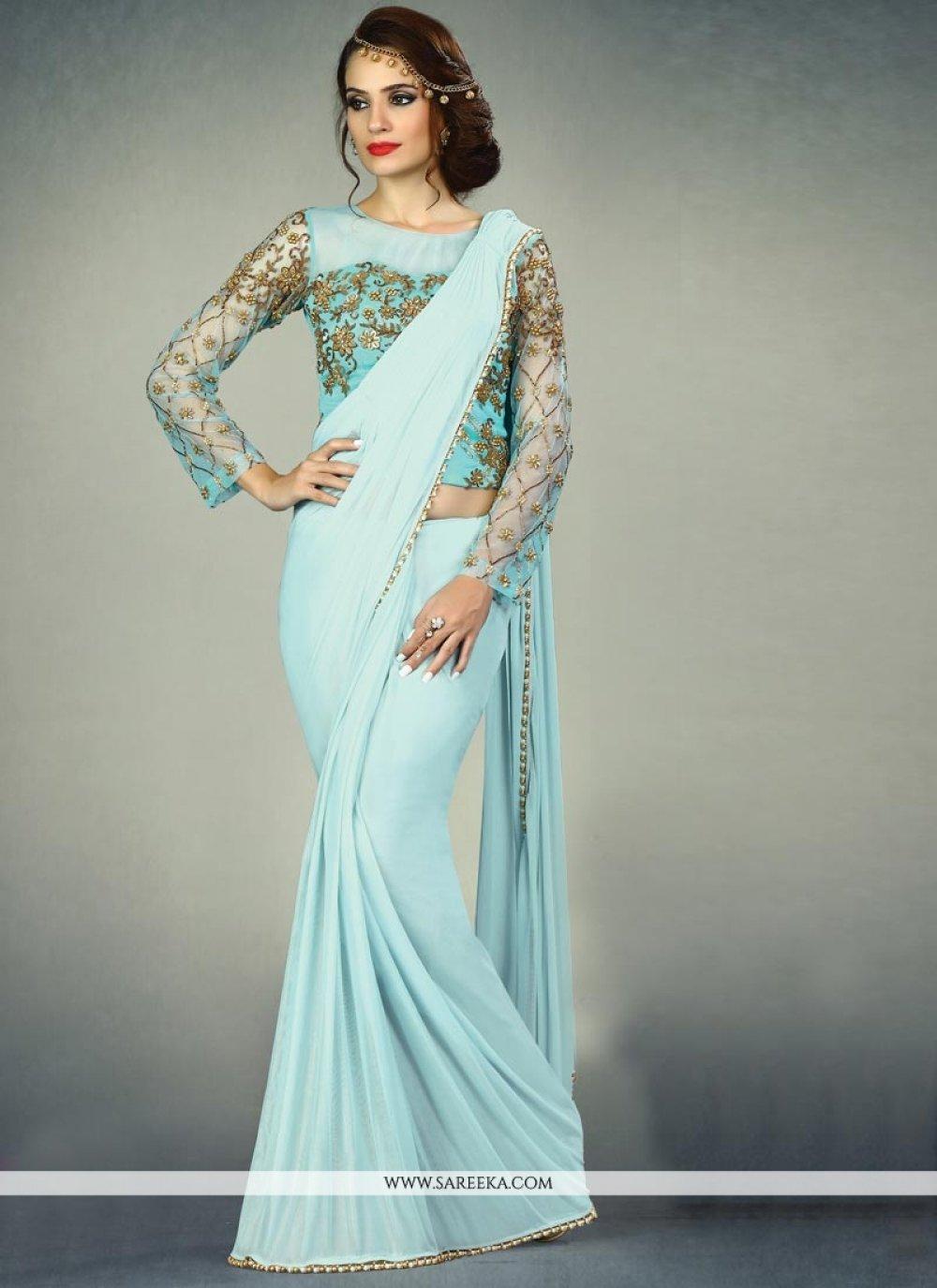 Blue Cutdana Work Designer Saree
