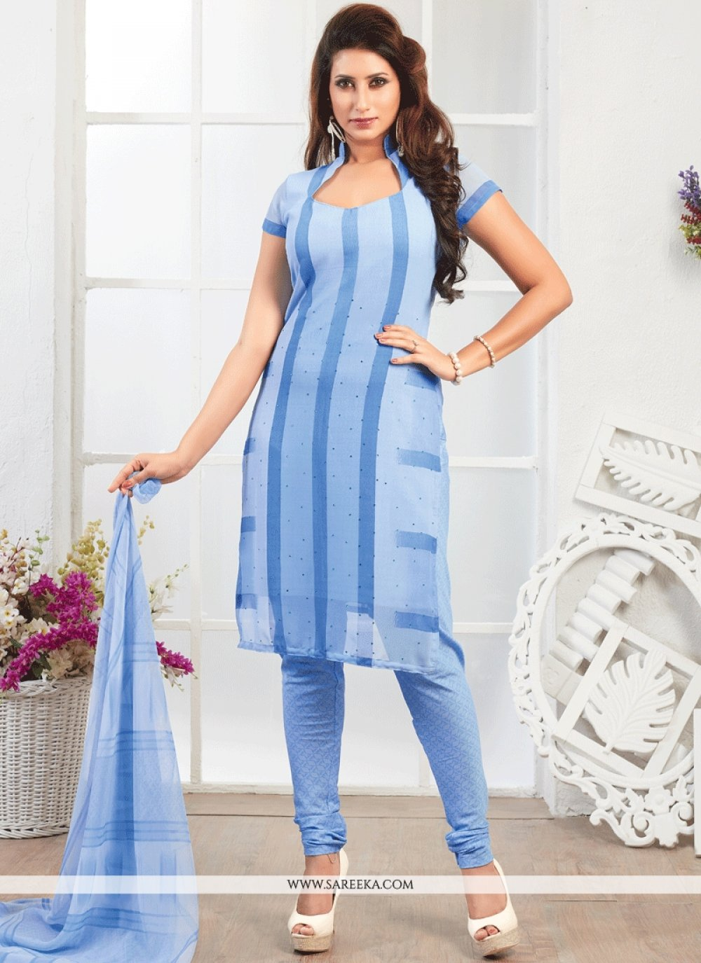 Blue Faux Georgette Churidar Suit