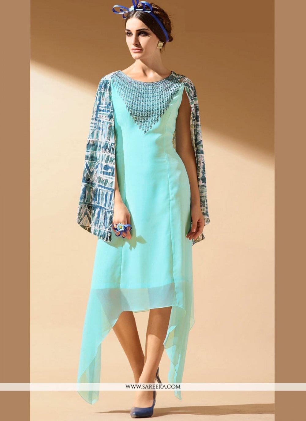 Blue Faux Georgette Party Wear Kurti