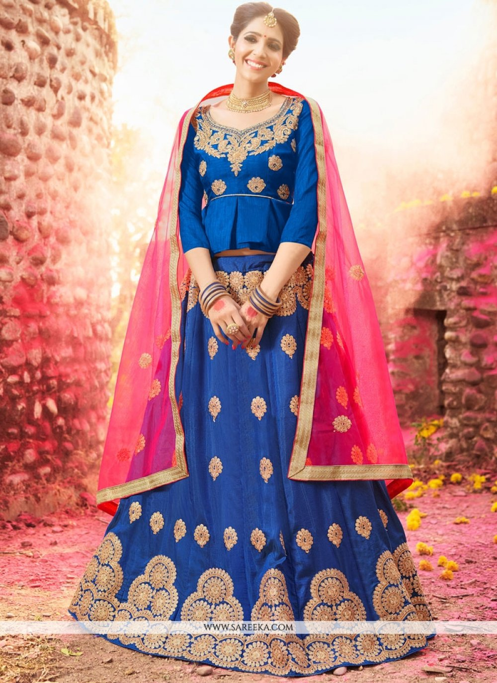 Blue Lace Work Banglori Silk Lehenga Choli