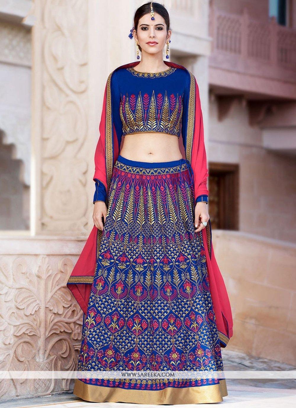 Blue Resham Work Banglori Silk Lehenga Choli