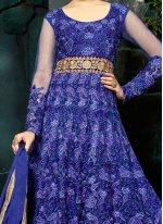 Blue Resham Work Floor Length Anarkali Suit