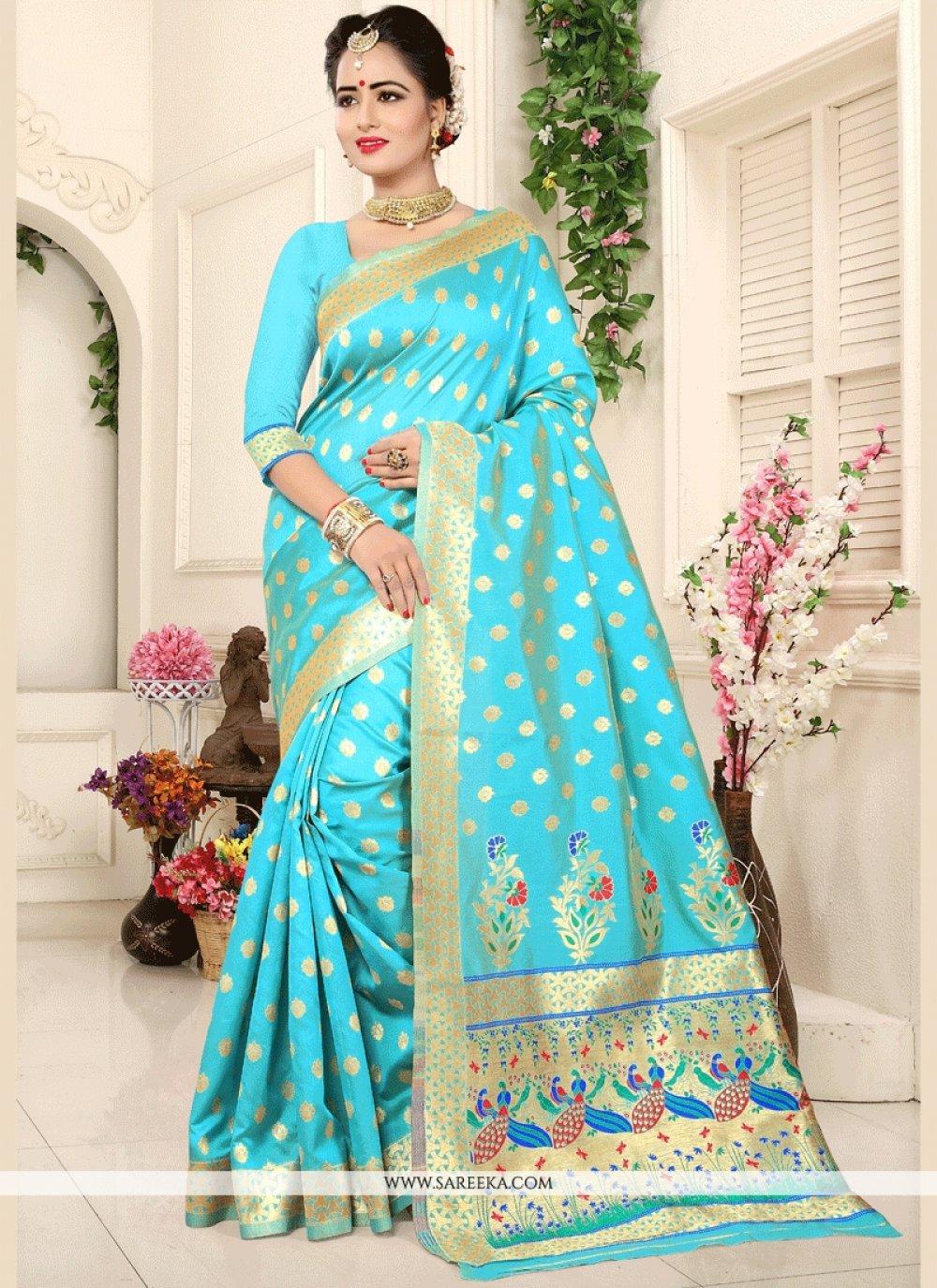 Blue Weaving Work Art Silk Traditional Designer Saree