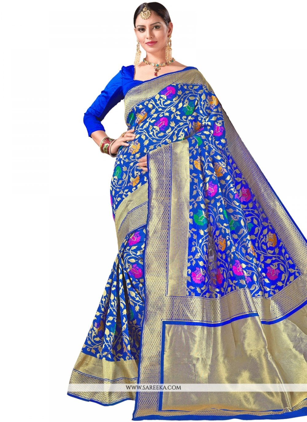 Blue Weaving Work Designer Traditional Saree