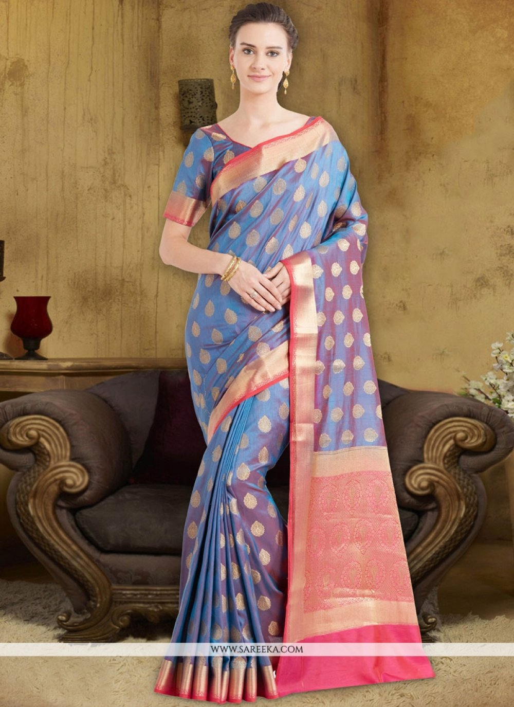 Blue Weaving Work Designer Traditional Saree
