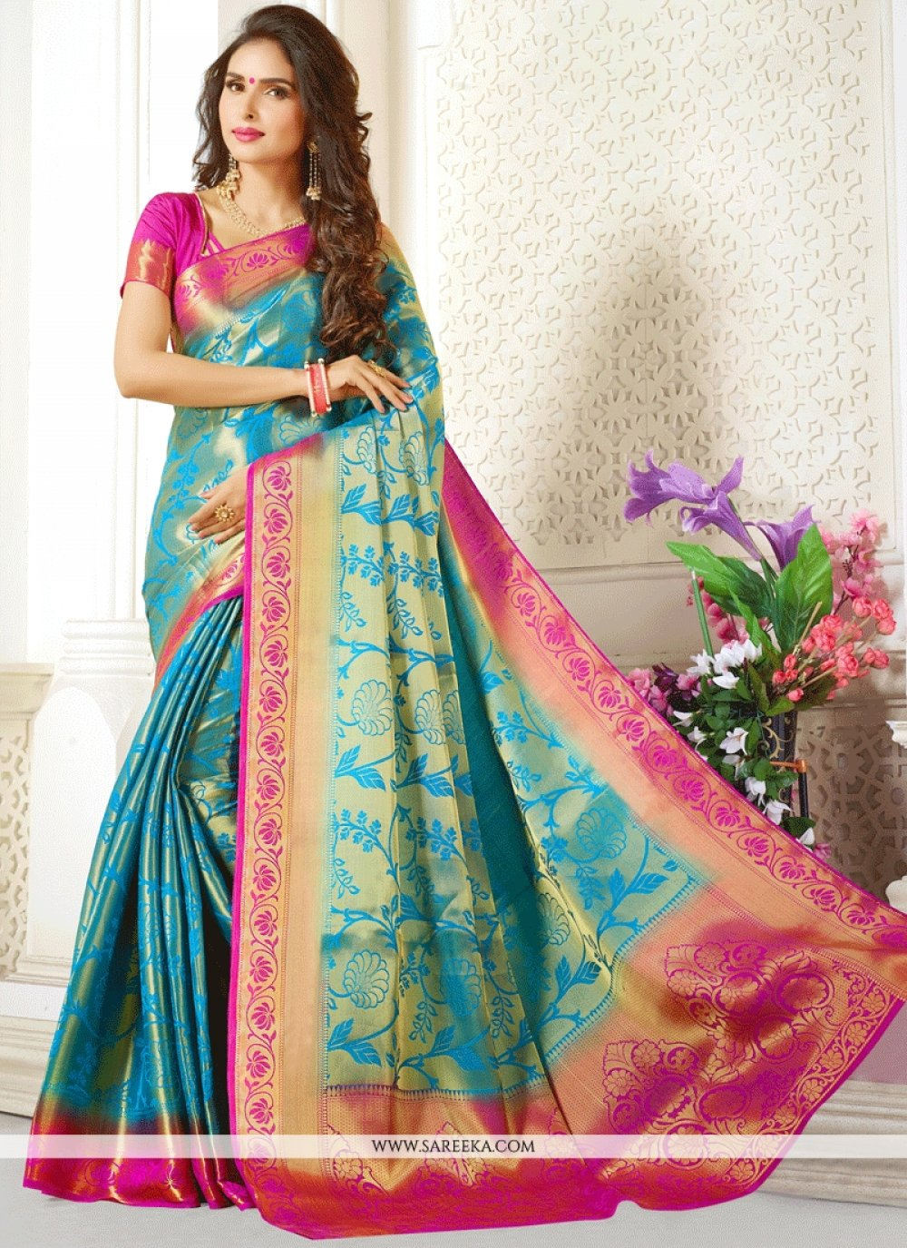Blue Weaving Work Traditional Designer Saree