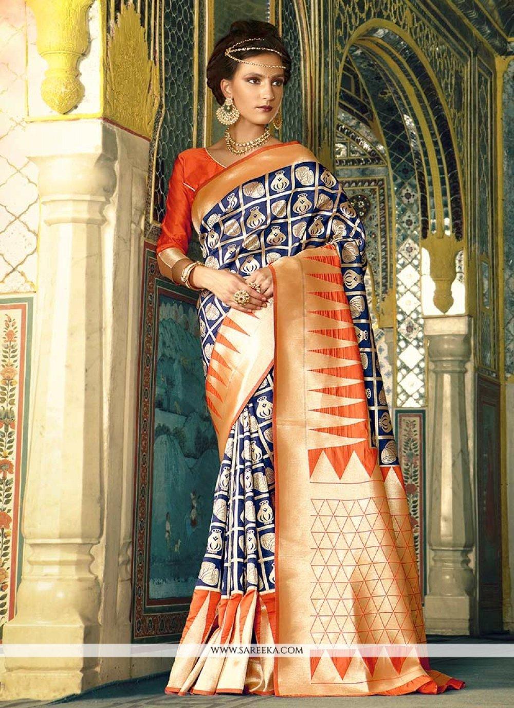 Blue Weaving Work Traditional  Saree