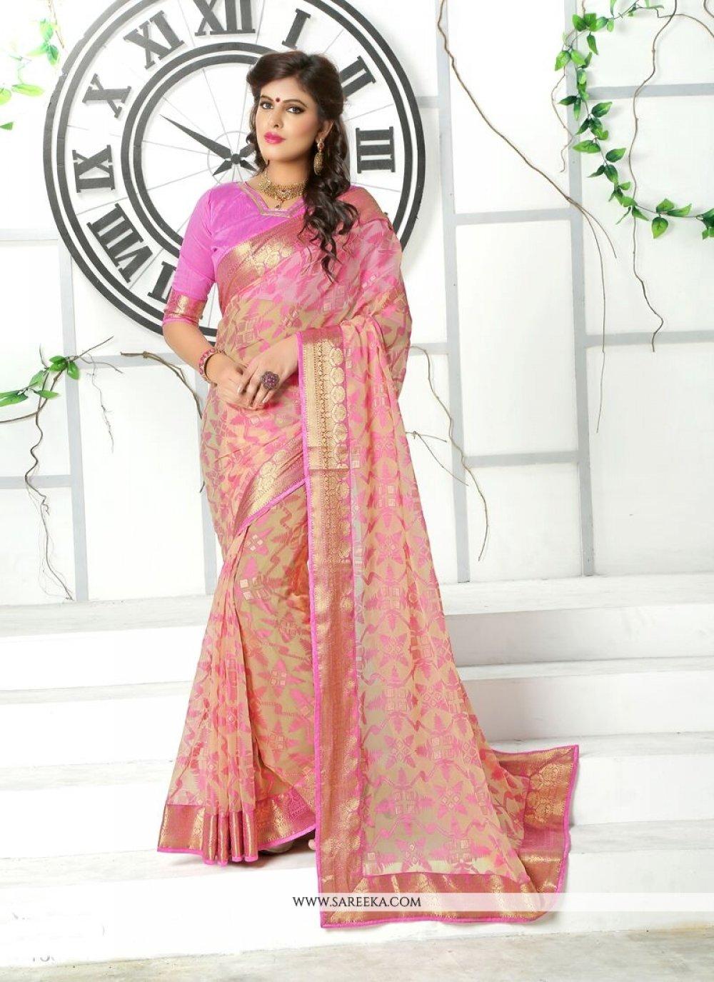 Brasso Pink Designer Saree