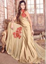 Embroidered Work Gold Bhagalpuri Silk Floor Length Designer Salwar Suit