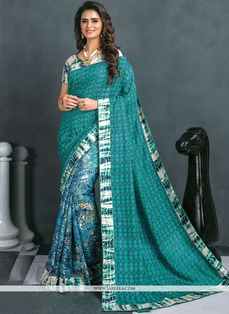 Art Silk Blue Print Work Traditional  Saree