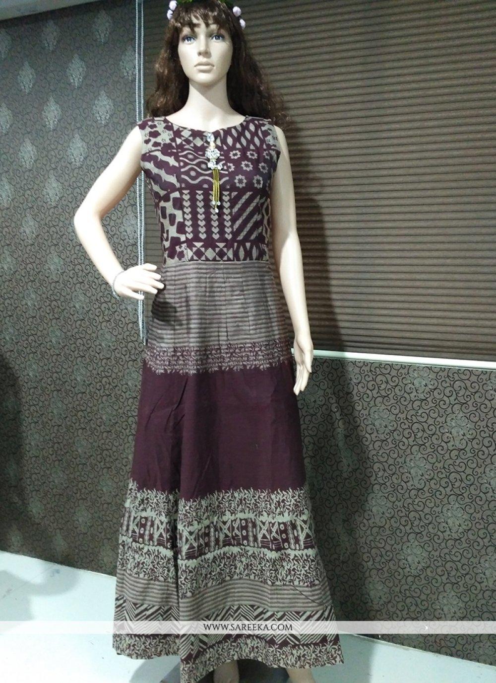 Brown Banarasi Silk Print Work Readymade Gown
