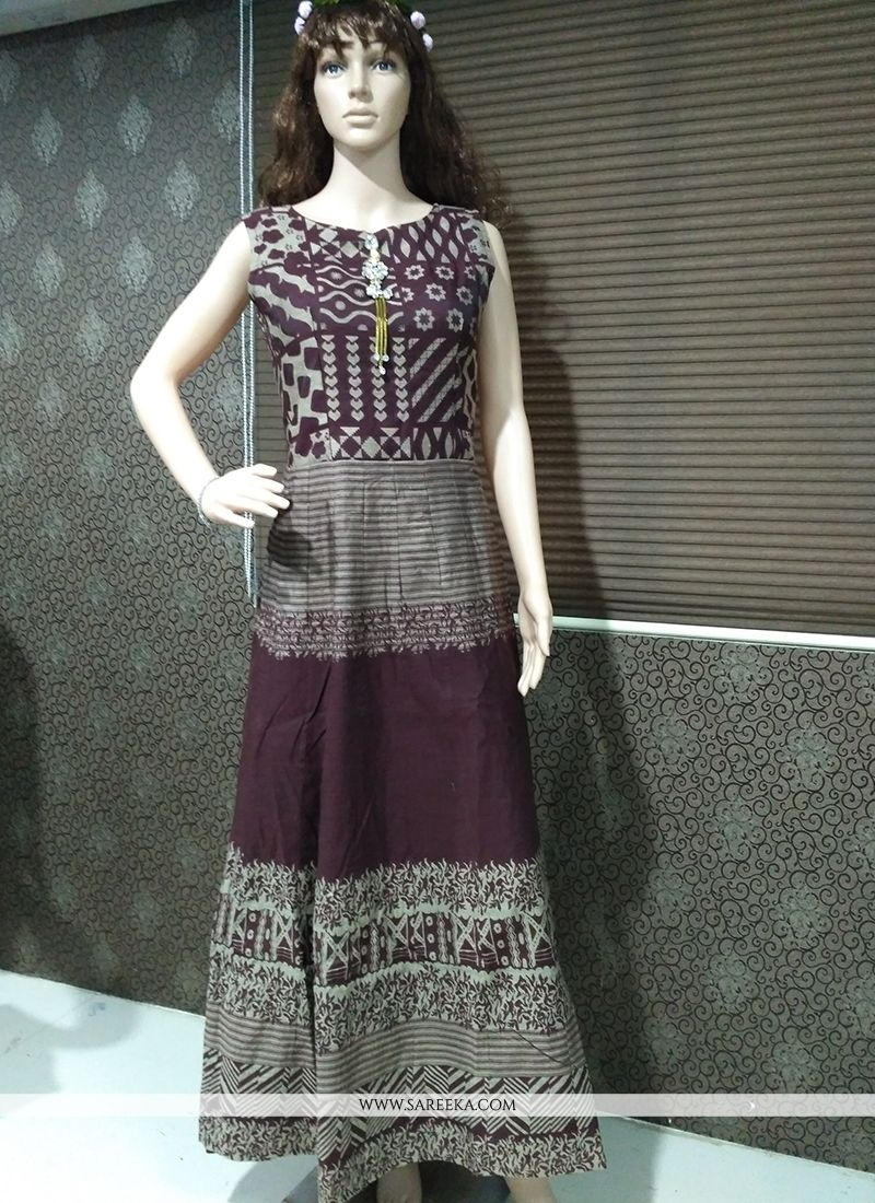 Brown Banarasi Silk Print Work Readymade Gown