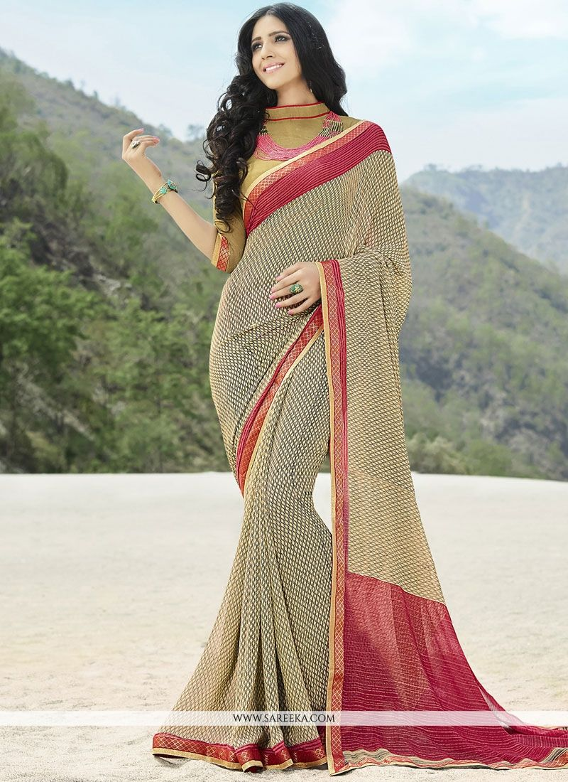 Brown Lace Work Faux Georgette Classic Saree