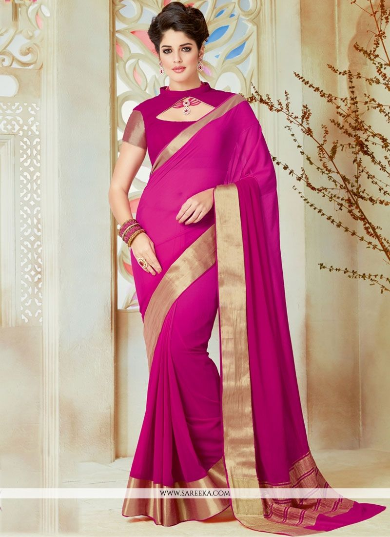 Magenta Patch Border Work Shaded Saree