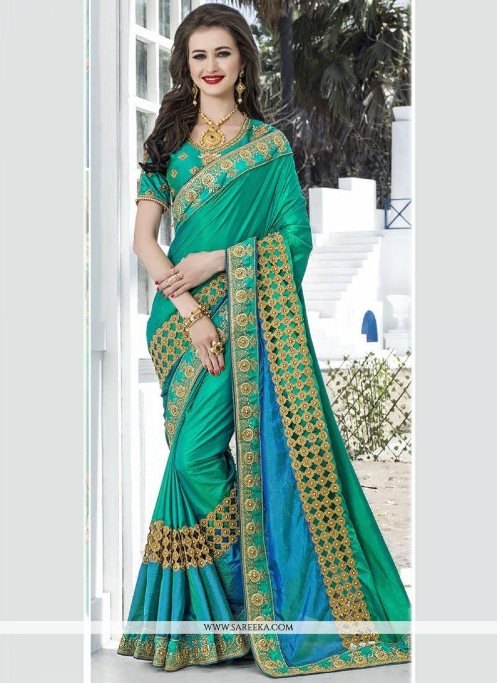 Blue and Sea Green Shaded Saree