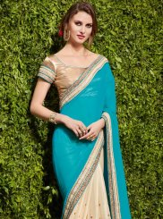 Beige and Turquoise Faux Chiffon Designer Half N Half Saree