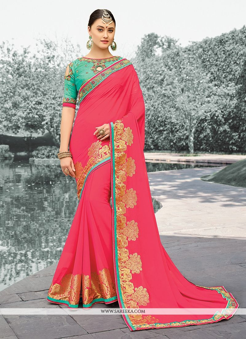Faux Georgette Rose Pink Zari Work Designer Saree