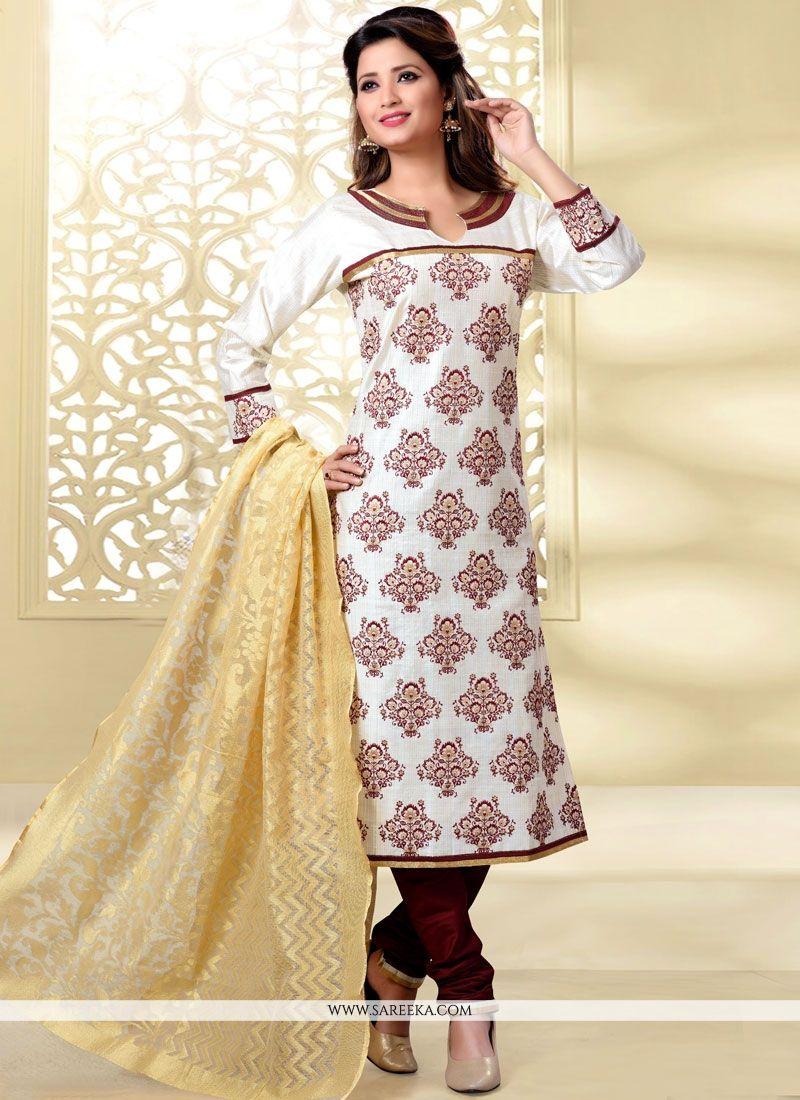 Off White Churidar Designer Suit