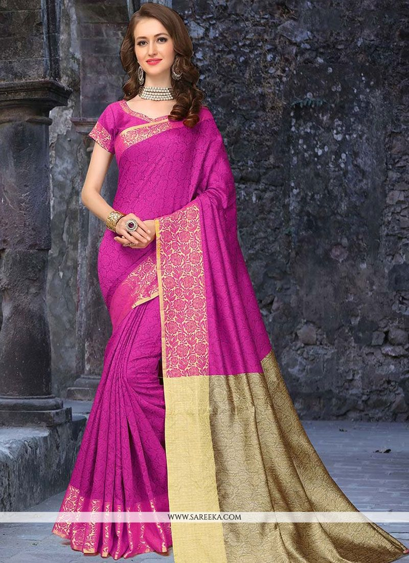 Weaving Work Hot Pink Traditional  Saree
