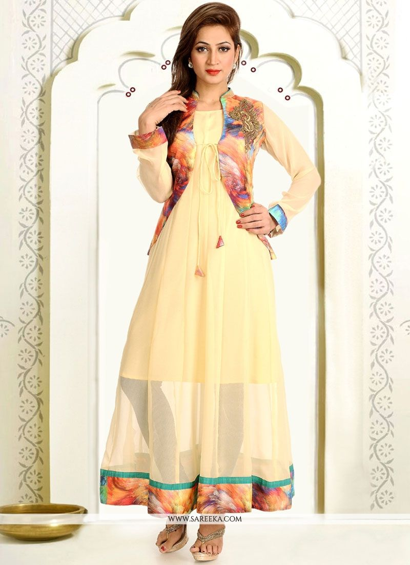 Print Work Faux Georgette Cream Party Wear Kurti