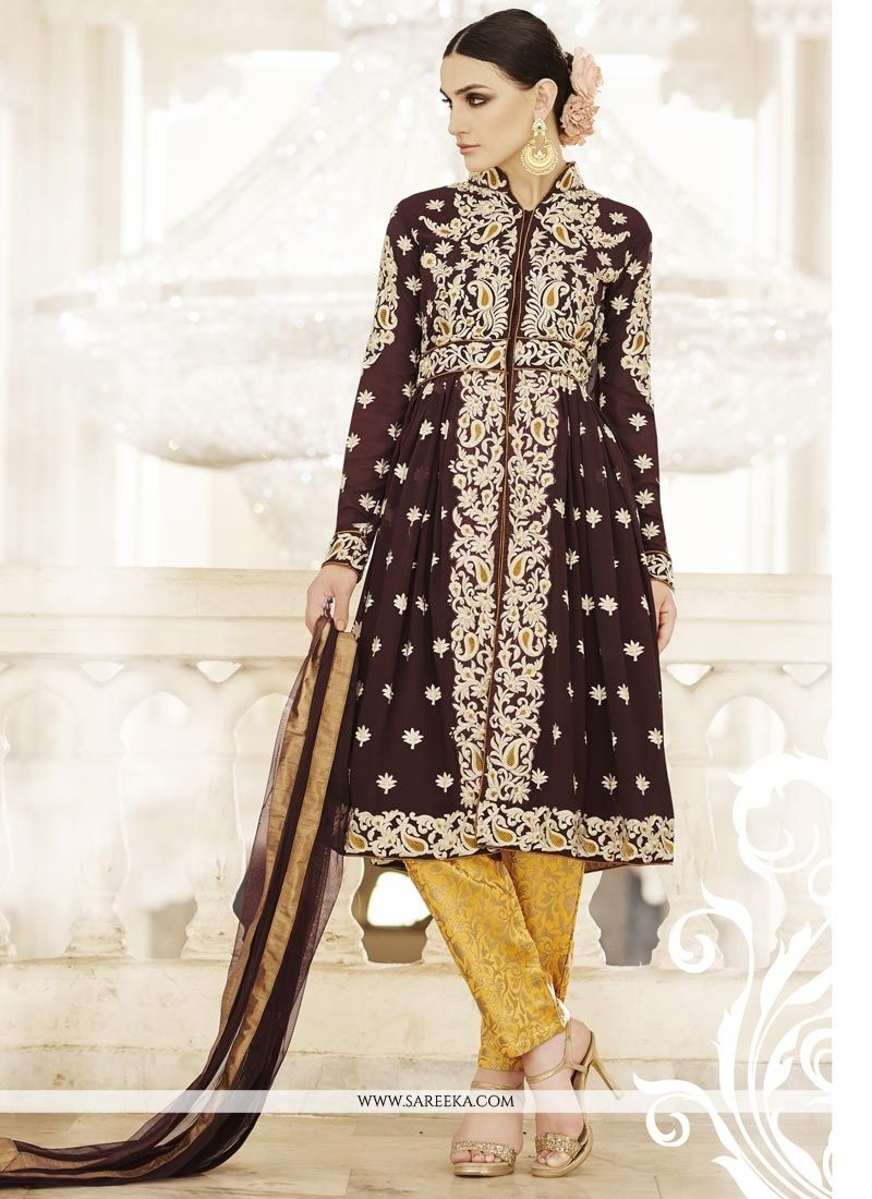 Resham Work Faux Georgette Pant Style Suit