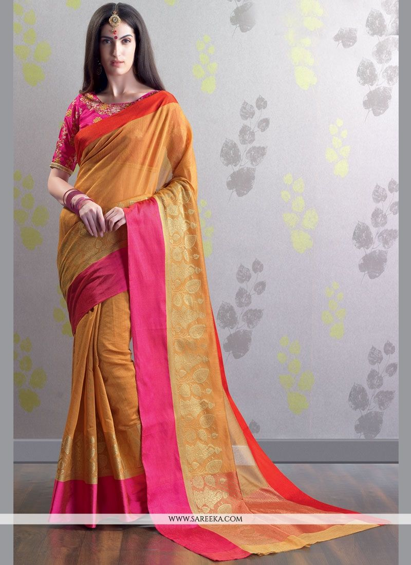 Chanderi Cotton Embroidered Work Classic Designer Saree