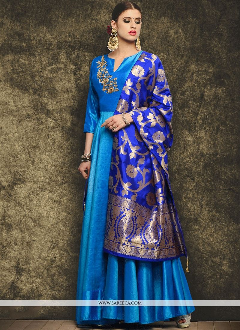 Art Silk Embroidered Work Readymade Anarkali Suit
