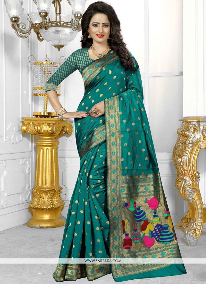 Sea Green Weaving Work Banarasi Silk Designer Traditional Saree