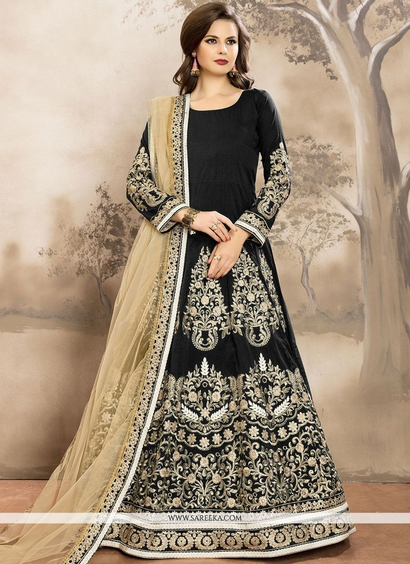 Tafeta silk Floor Length Anarkali Suit