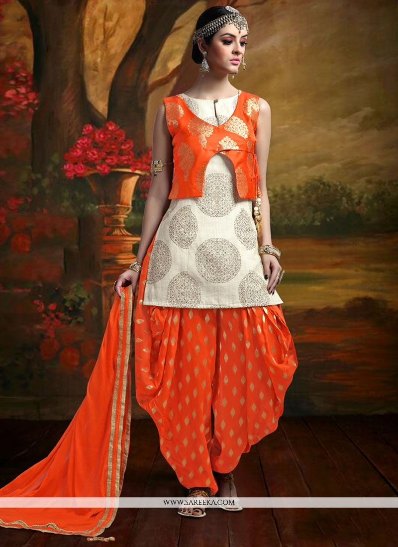 e04c0a6ba7 Buy Banarasi Silk Beige and Orange Weaving Work Readymade Suit Online :  Malaysia -