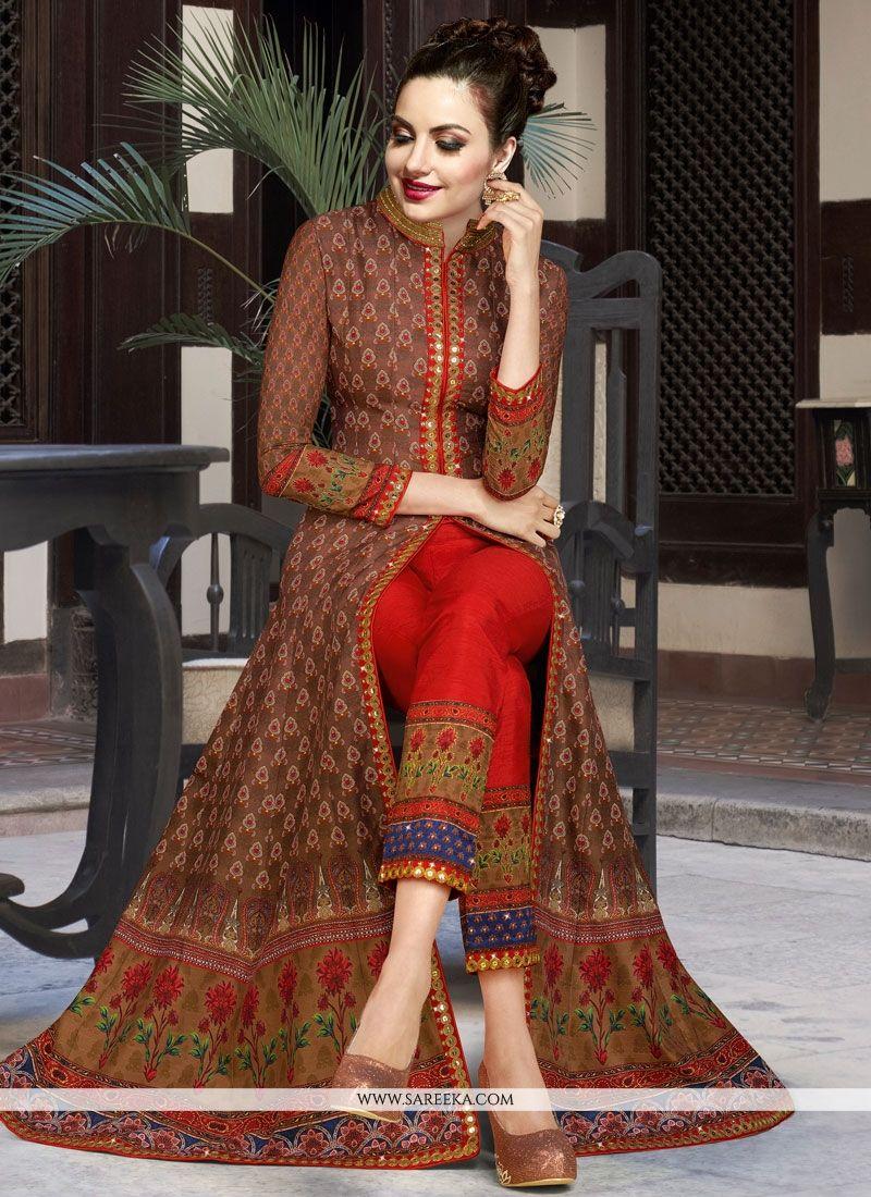 Embroidered Work Art Silk Multi Colour Designer Suit