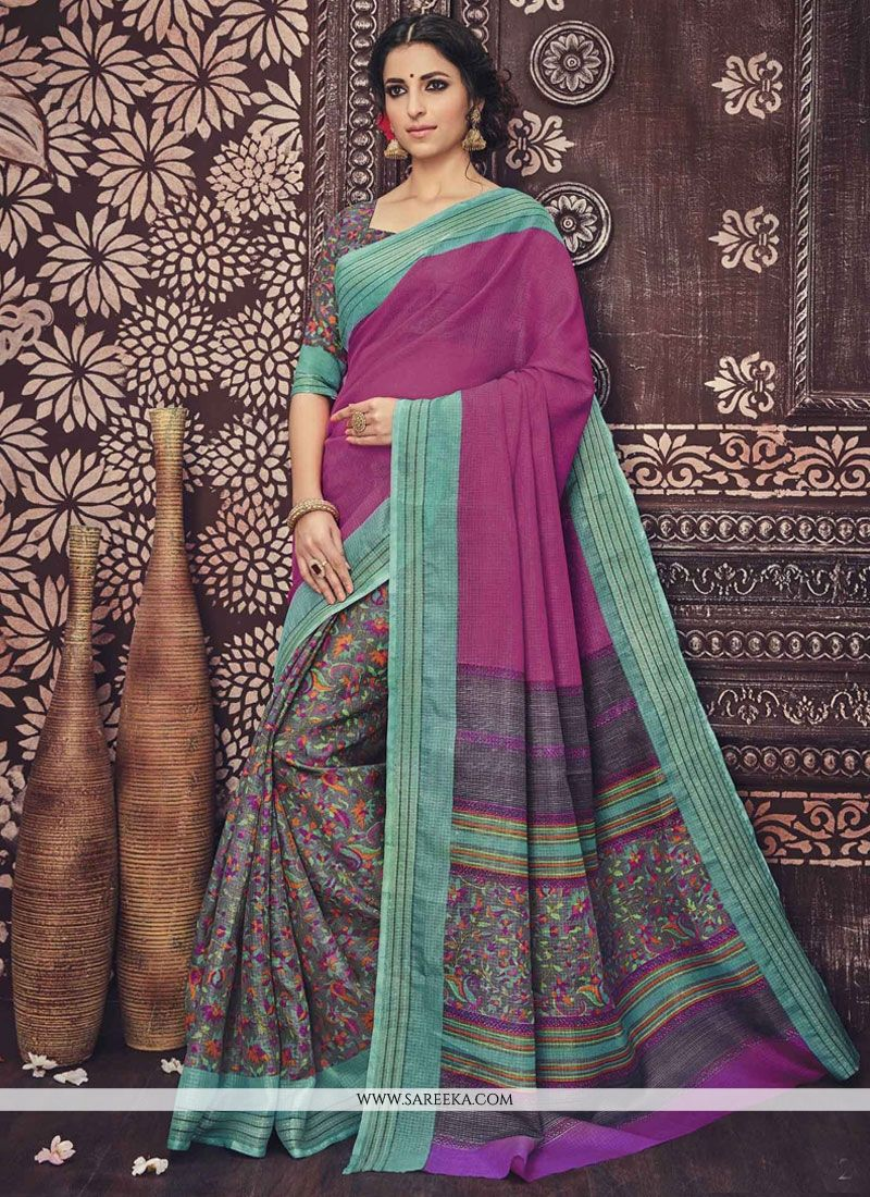 Art Silk Grey and Pink Print Work Casual Saree