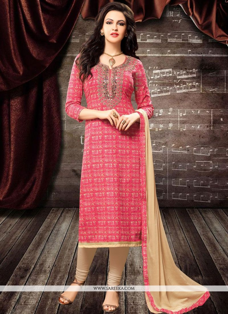 Cotton   Pink Churidar Designer Suit