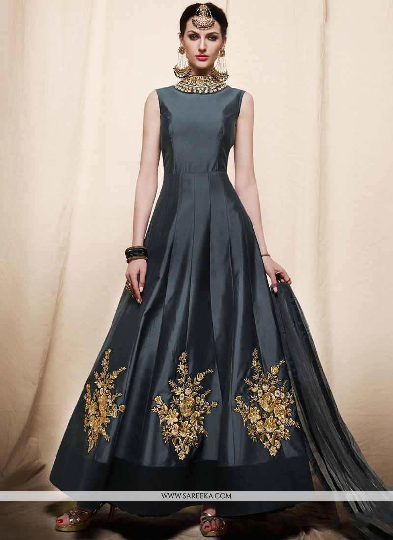 Embroidered Work Grey Art Silk Readymade Anarkali Suit