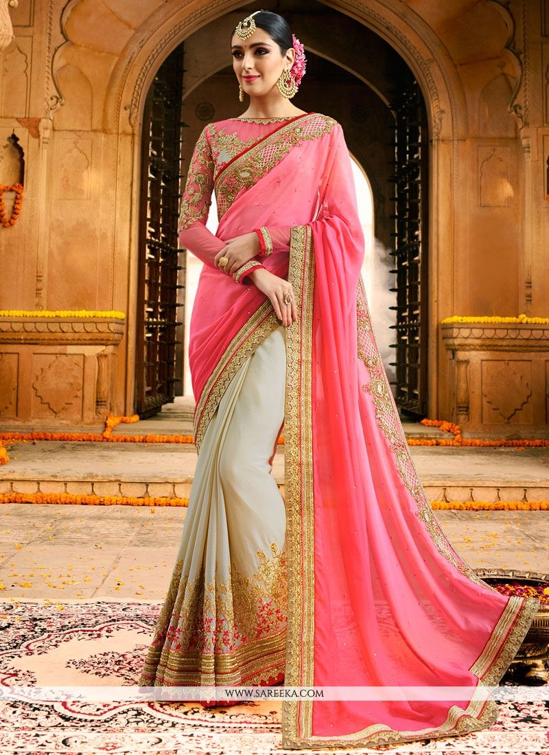 Faux Chiffon Patch Border Work Shaded Saree