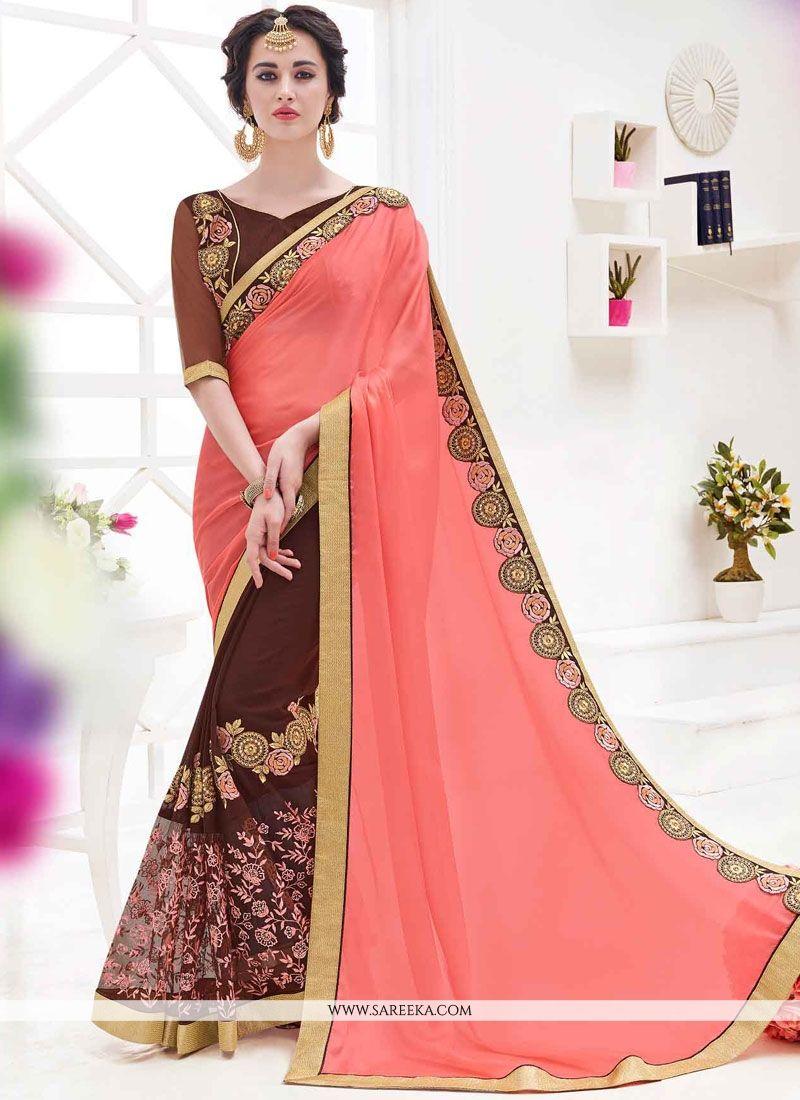 effe9104c5707 Buy Patch Border Work Brown and Pink Faux Georgette Designer Half N Half  Saree Online   UAE -