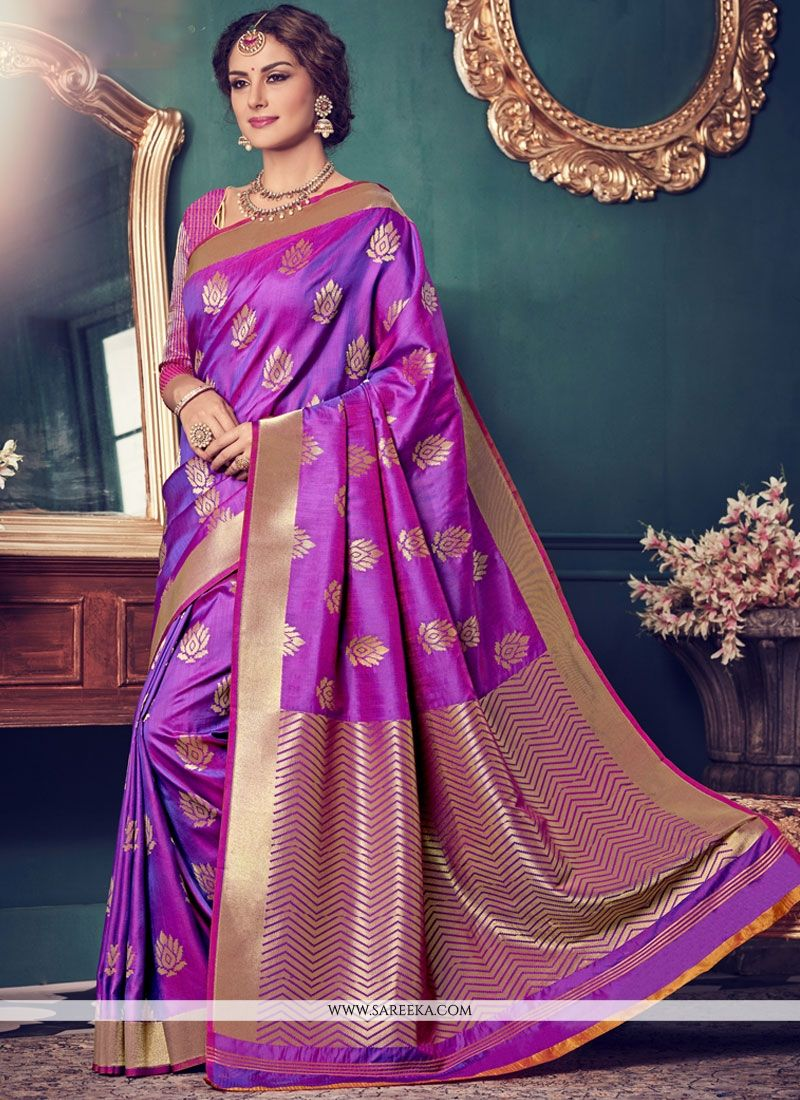 Purple Art Silk Traditional  Saree