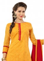 Red and Yellow Chanderi Palazzo Suit