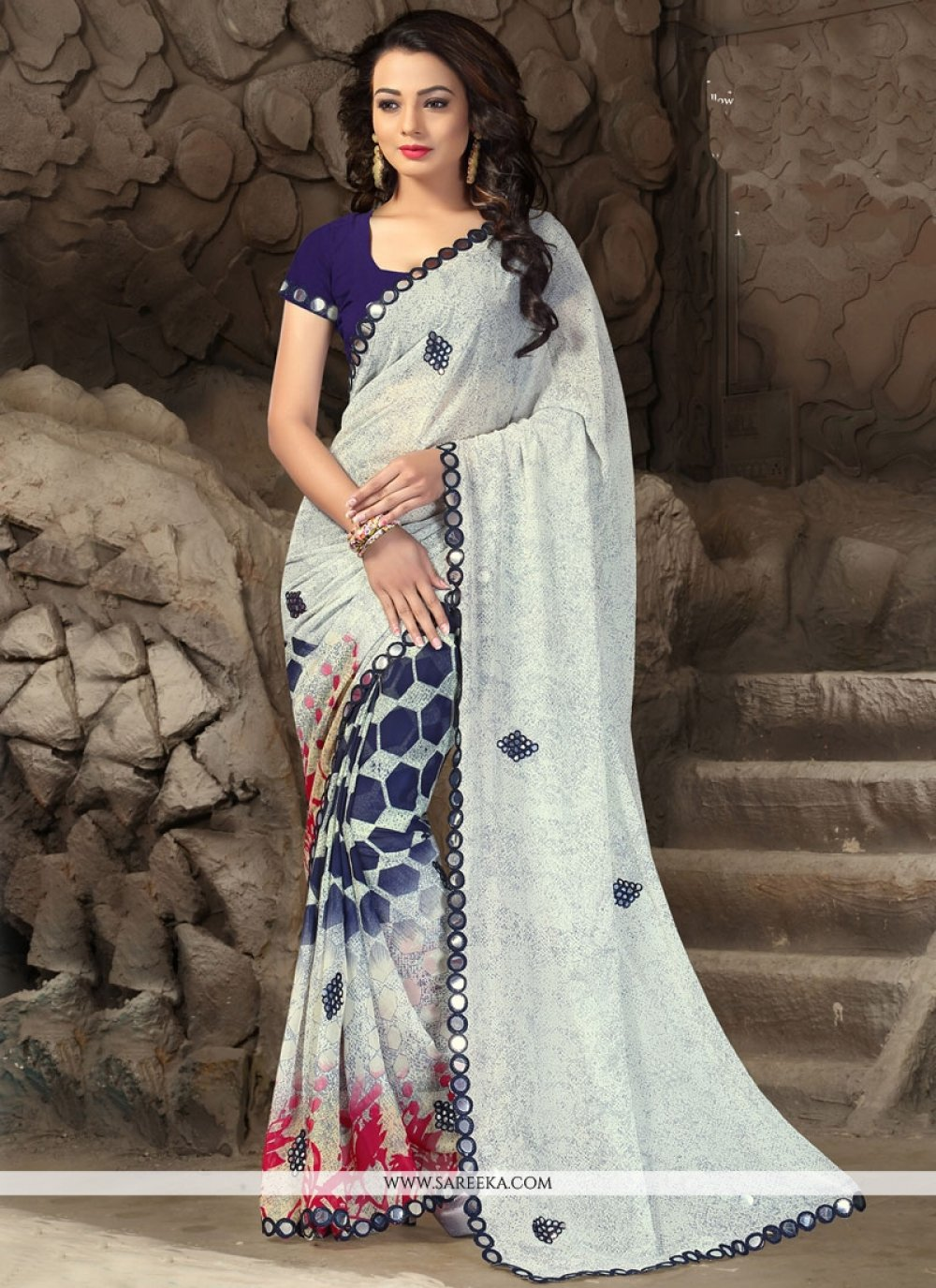 Faux Georgette Off White Print Work Printed Saree