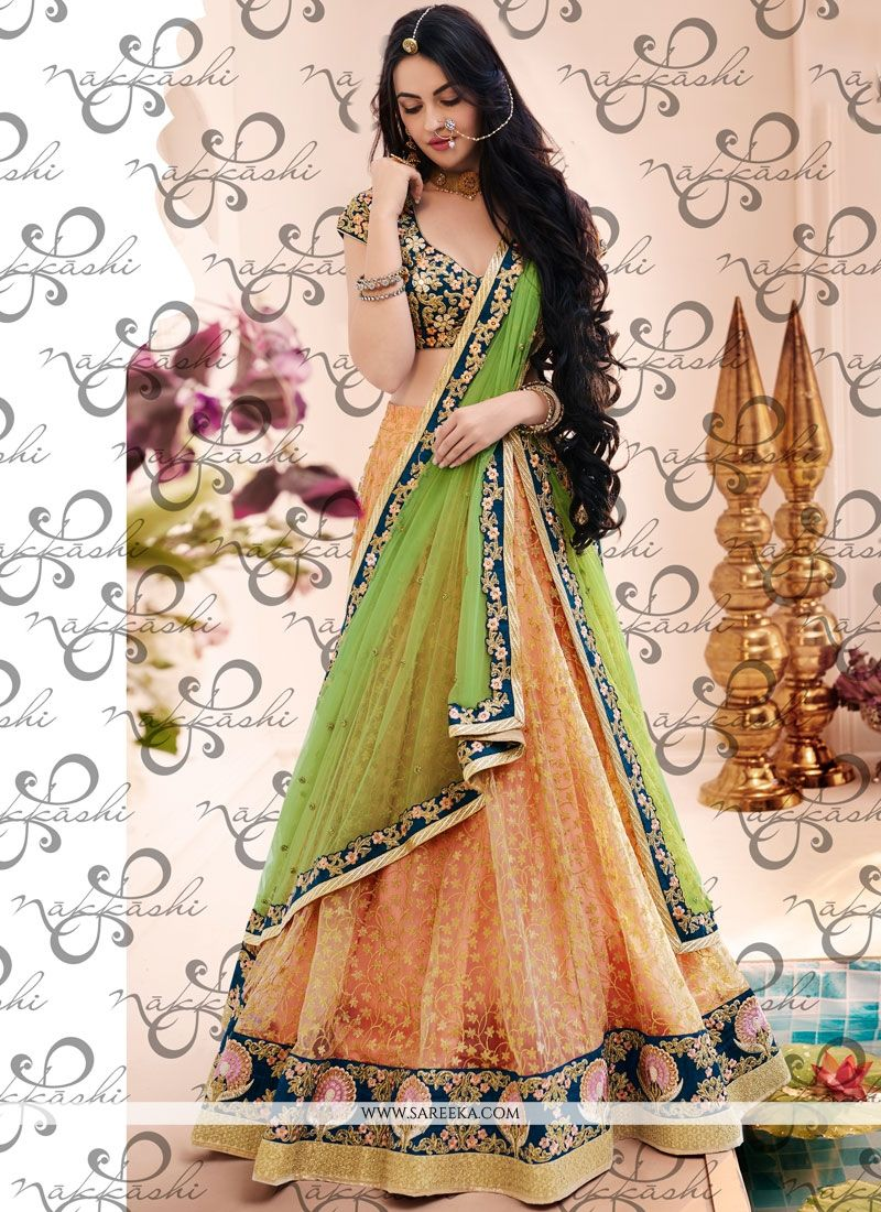 Green and Peach Lehenga Choli