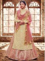 Beige and Pink Embroidered Work Fancy Fabric Long Choli Lehenga