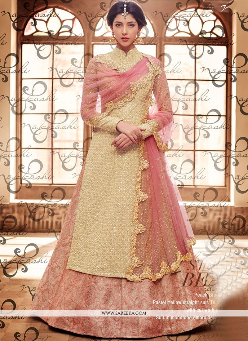 Beige and Pink Embroidered Work Fancy Fabric Long Choli Lehenga