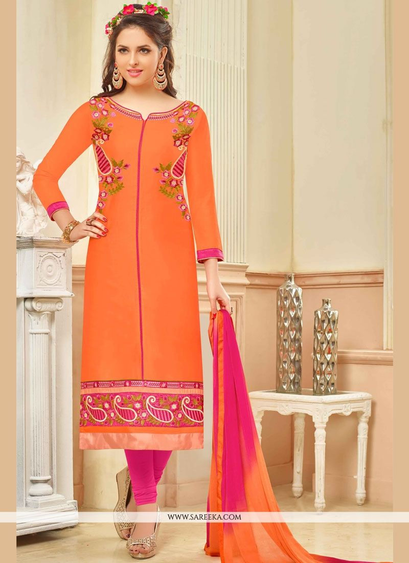 Embroidered Work Churidar Suit