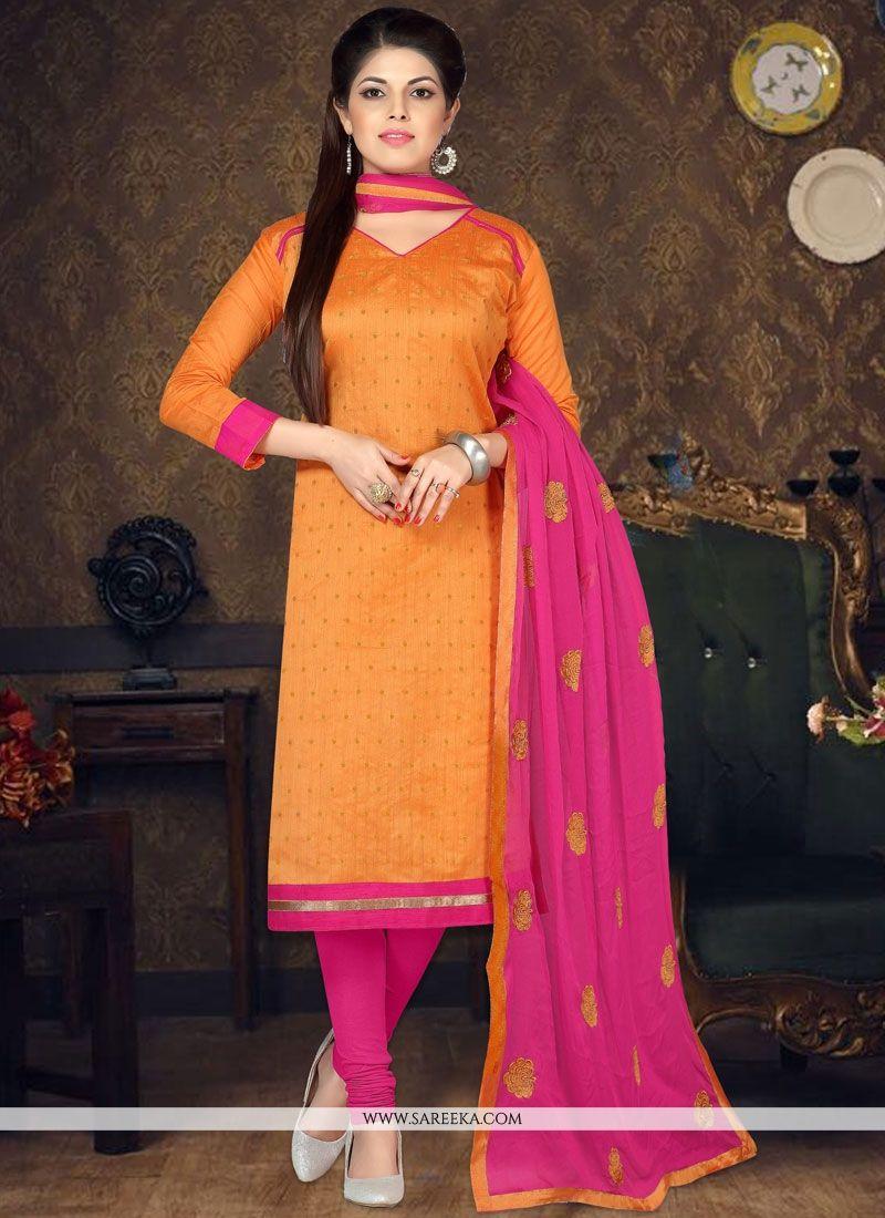 Embroidered Work Orange Chanderi Cotton Churidar Suit