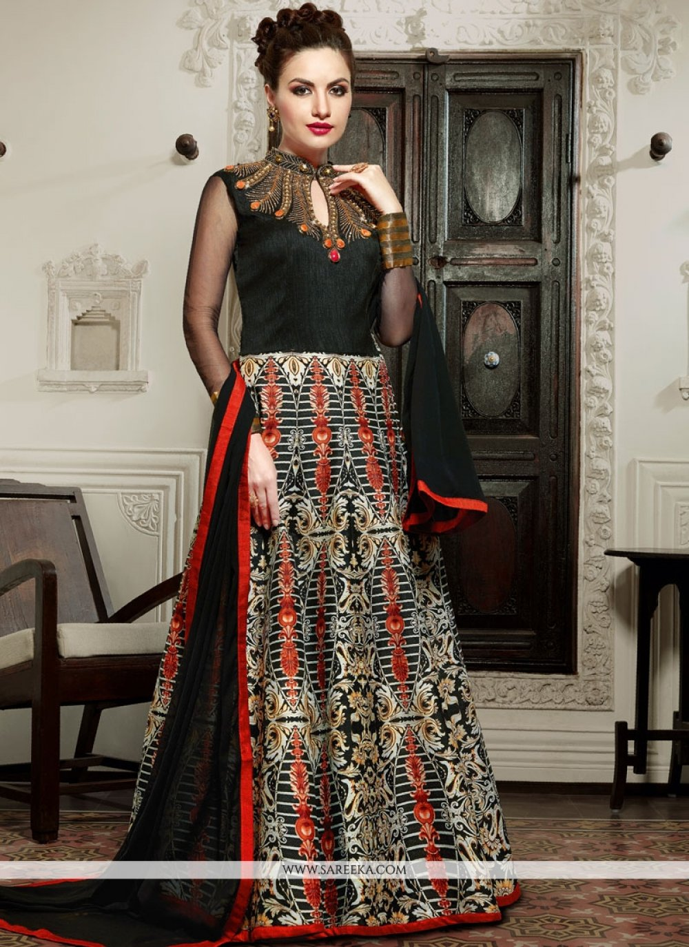 Art Silk Digital Print Work Floor Length Anarkali Salwar Suit