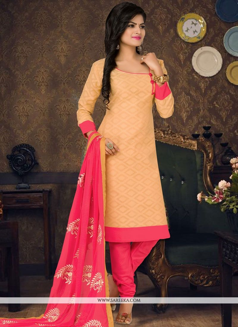 Embroidered Work Beige Cotton   Churidar Suit