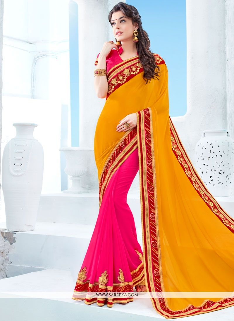 Faux Chiffon Hot Pink and Yellow Half N Half Designer Saree