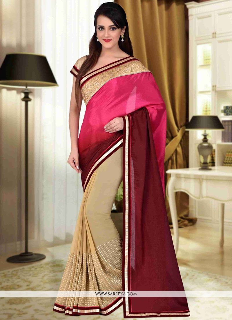 Faux Georgette Beige, Hot Pink and Maroon Lace Work Designer Half N Half Saree