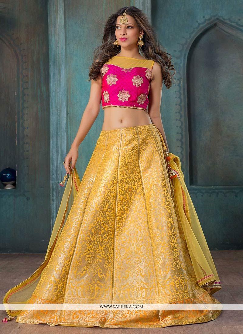 Jacquard Silk Yellow and Hot Pink Floral Patterns Work Lehenga Choli