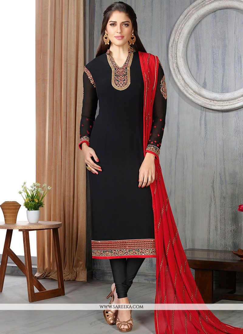 Lace Work Black Faux Georgette Churidar Suit